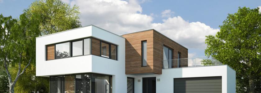Haus Kubus mit Holzelementen